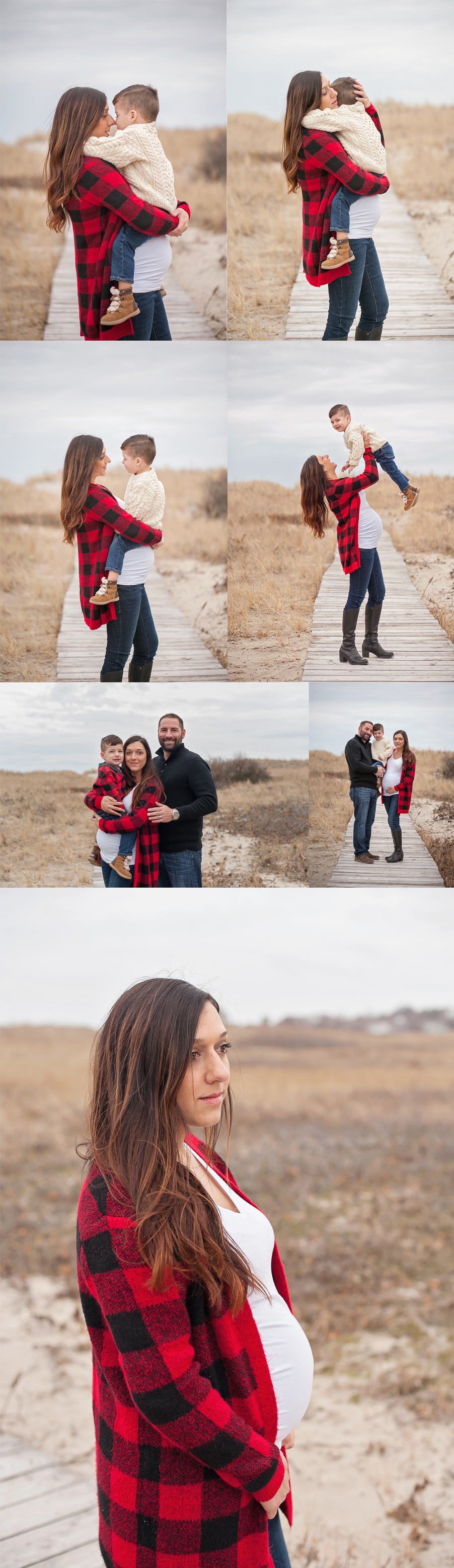 massachusetts winter beach family maternity mini session